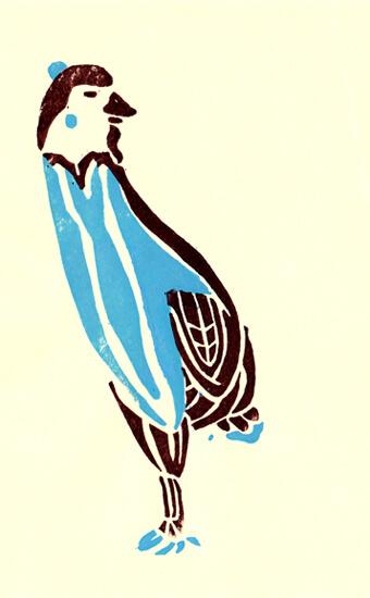 鳥キャラクターで作った版画