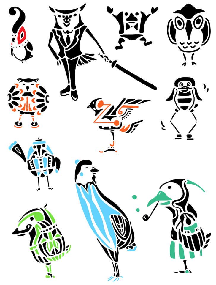 タッチの違う鳥のオリジナルキャラクターイラスト
