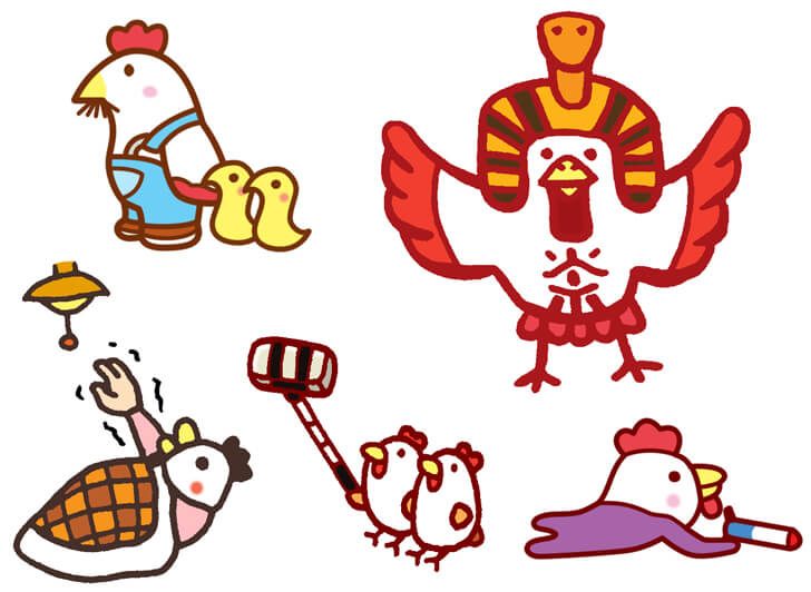 鶏のオリジナルキャラクターイラスト