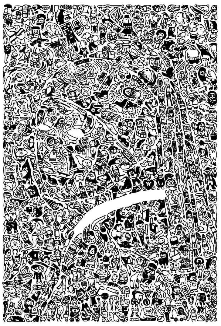 フェルメールのボールペン画のモノクロ原画