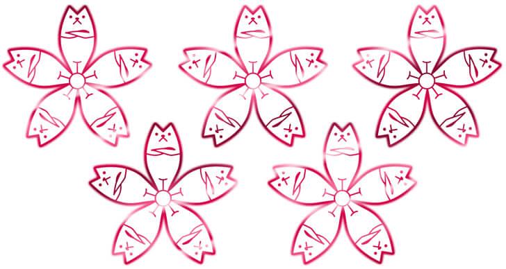 猫桜の家紋を並べたもの