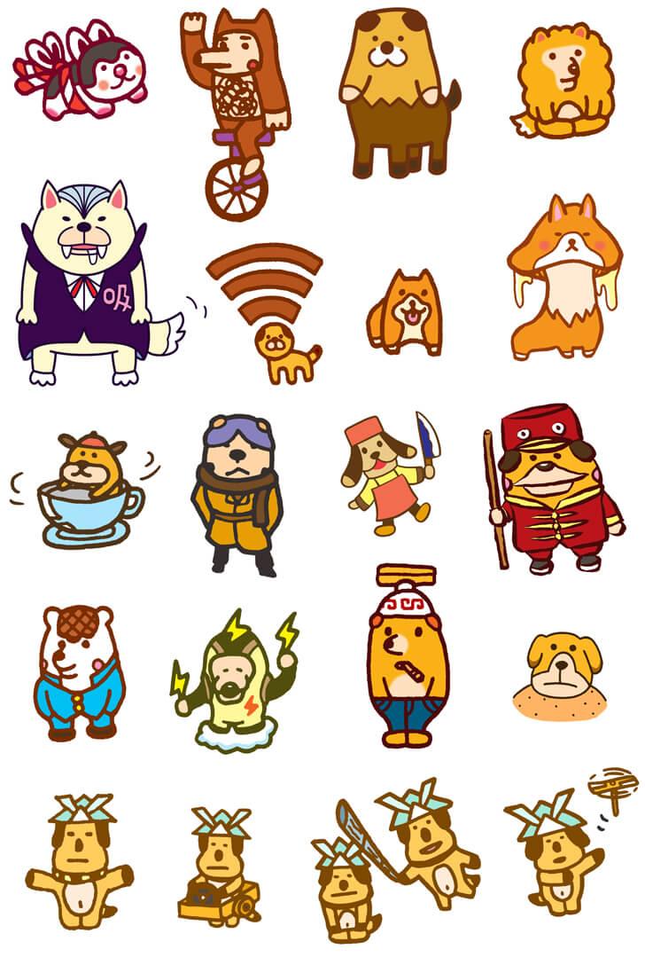 張り子犬などの犬モチーフのキャラクターイラスト