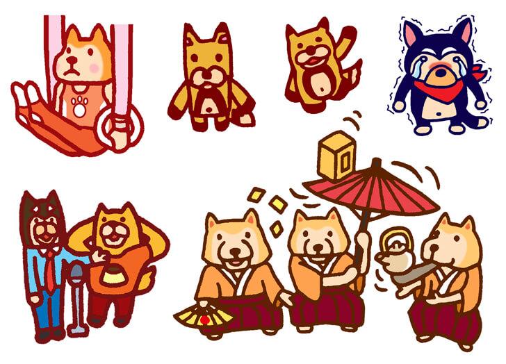 柴犬や黒柴モチーフのキャラクターイラスト