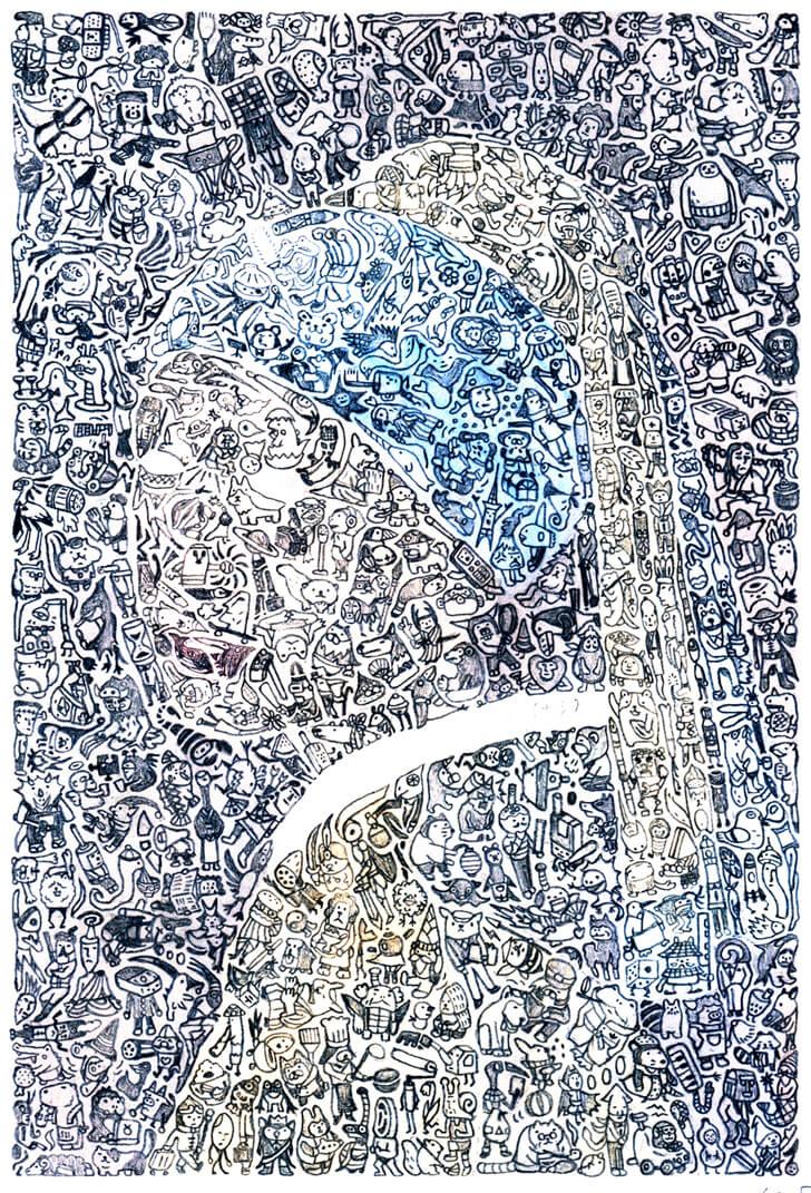 フェルメールのボールペン画の下絵