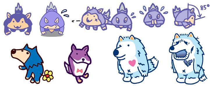狼モチーフのキャラクターイラスト