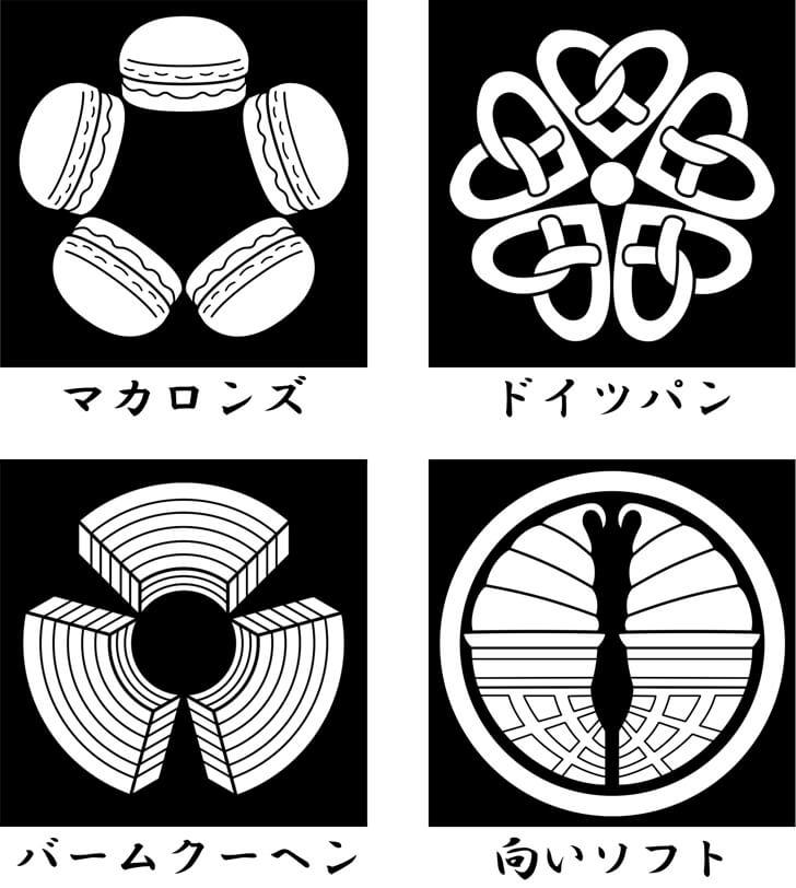 マカロン等のスイーツのオリジナル家紋