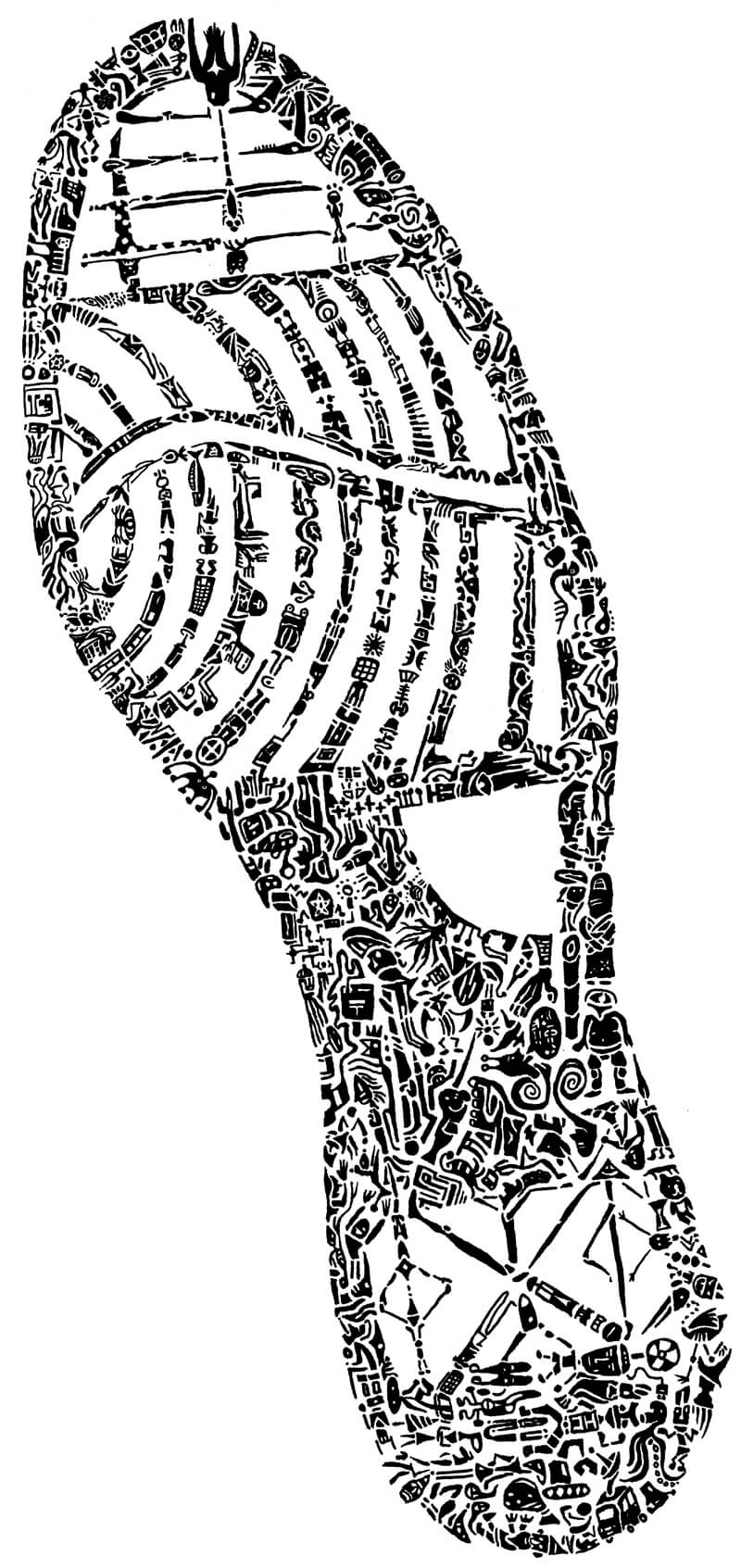 靴底の形をモチーフにしたボールペン画