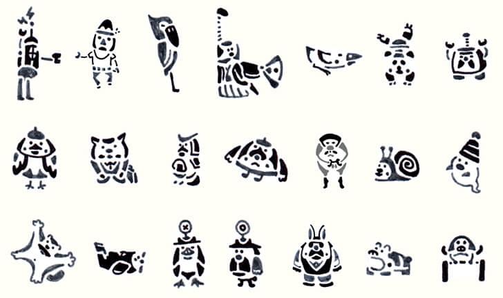 伝統マークのボールペン画の中のキャラクターイラスト