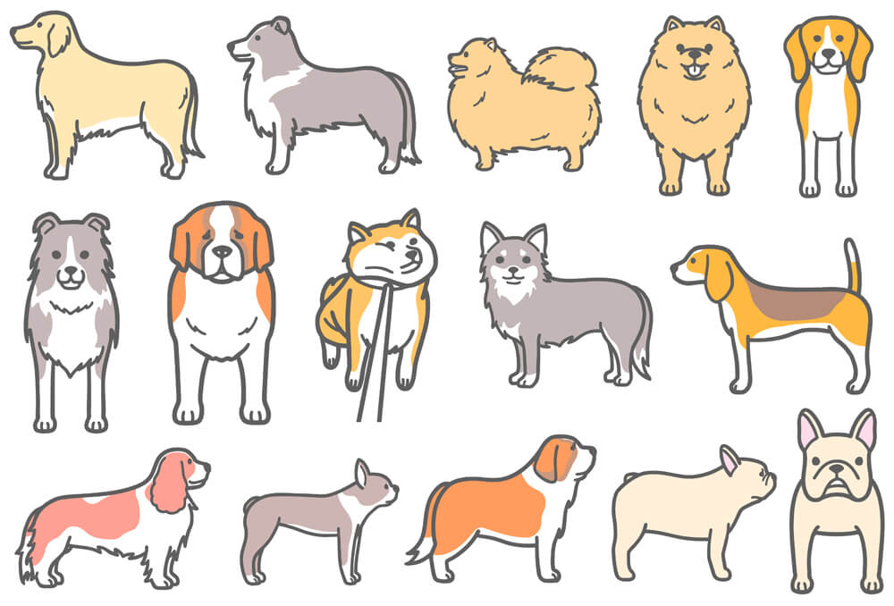 散歩拒否犬などの犬イラスト