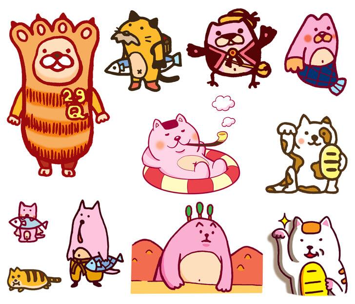 肉球などの猫のキャラクターイラスト