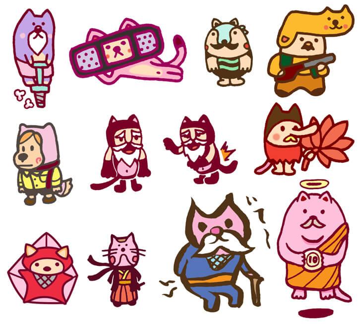 猫おじさんなどのキャラクターイラスト