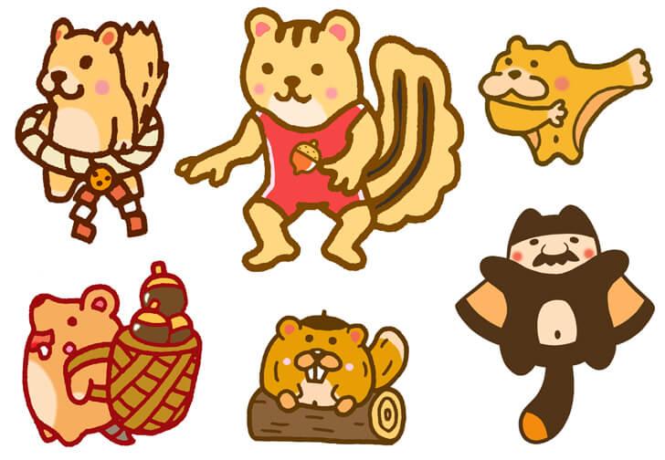 リスやモモンガなどのキャラクターイラスト