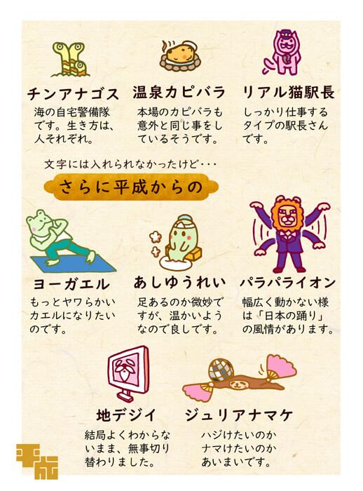 平成にちなんだパラパラなどキャラクターイラスト