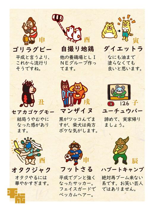 平成にちなんだ干支キャラクターイラスト2