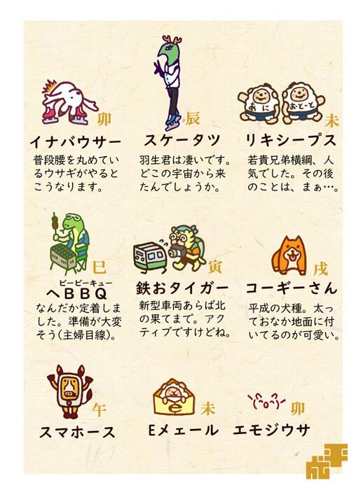 平成にちなんだ干支キャラクターイラスト3