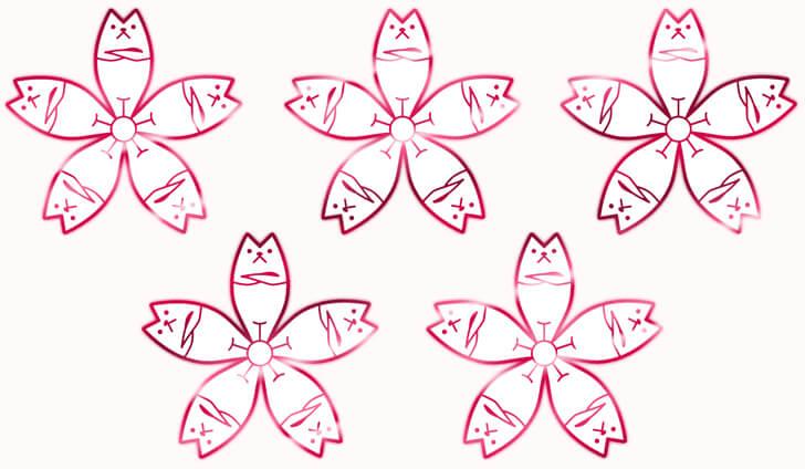 家紋猫桜のカラーバージョン