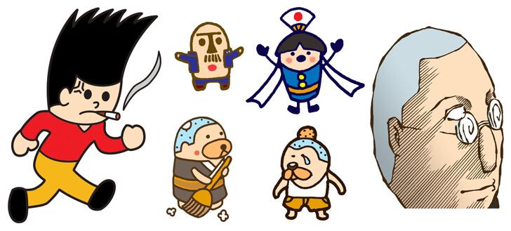 飛び出し坊やなどの子どものキャラクターイラスト
