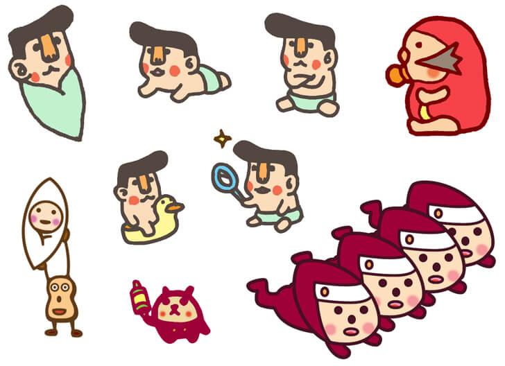 赤ちゃんのキャラクターイラスト