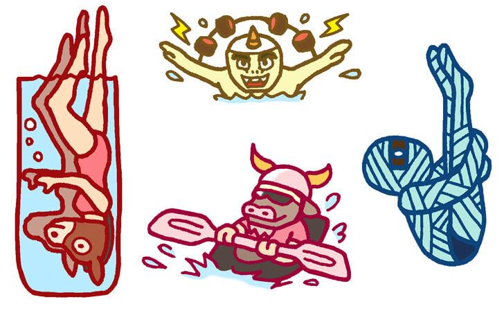 水泳のキャラクターイラスト