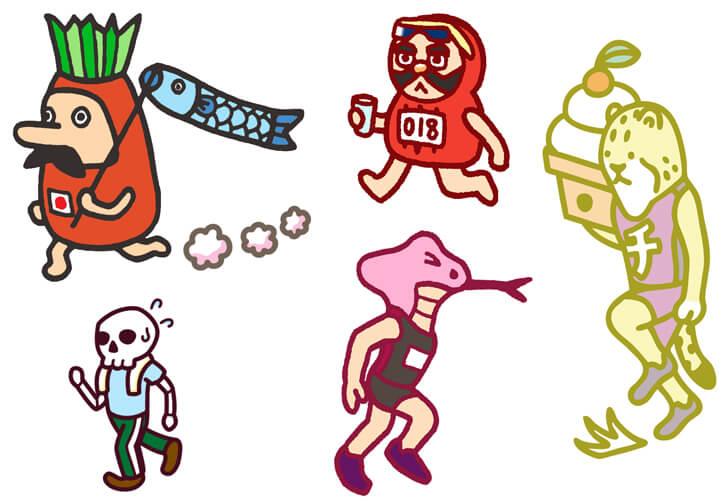 マラソンのキャラクターイラスト