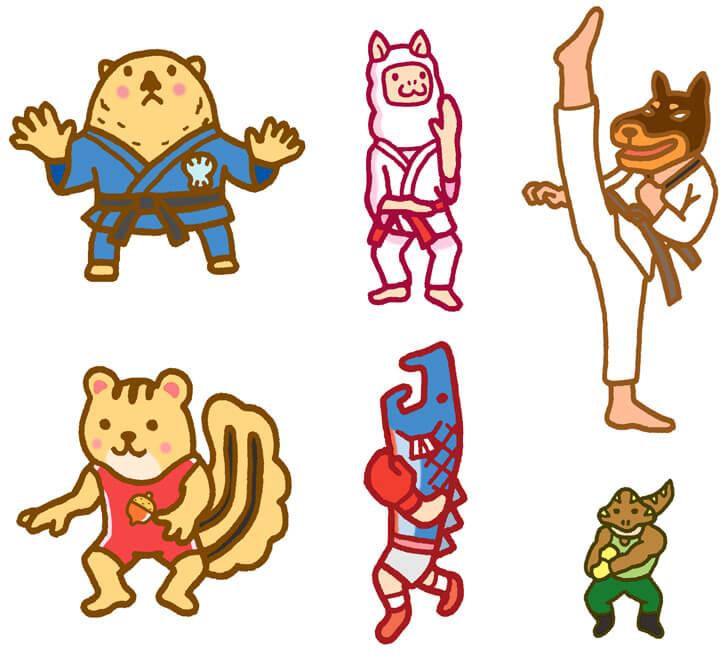武道やレスリングのキャラクターイラスト