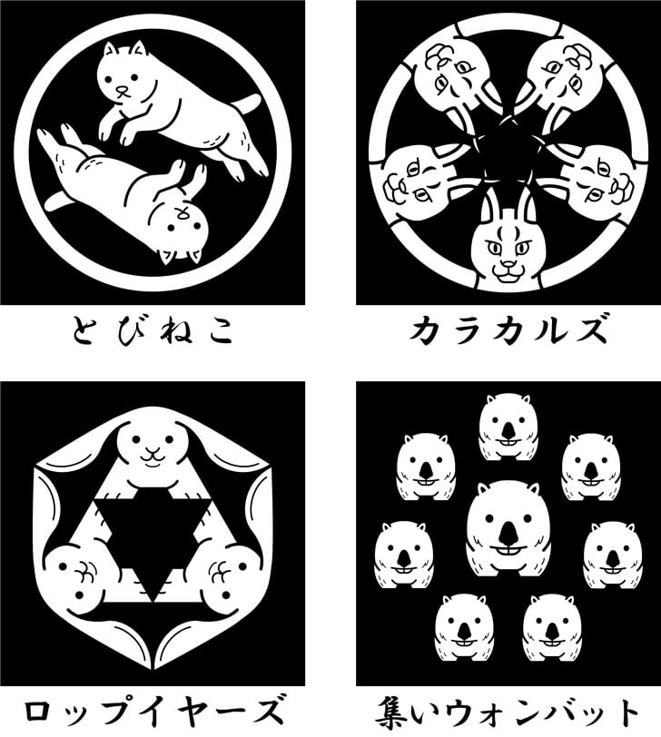 猫などの動物のオリジナル家紋