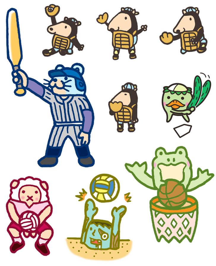 野球キャラクターのイラスト