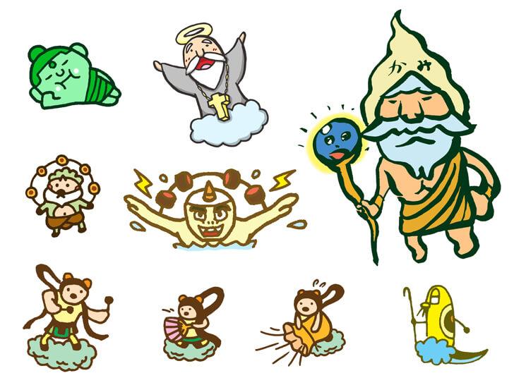 風神雷神などのキャラクターのイラスト