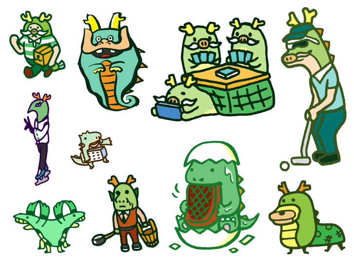 竜のキャラクターのイラスト
